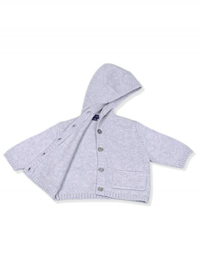Cashmere cotton blend baby hoodie cardi