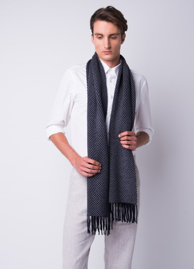 Wide herringbone fringed scarf