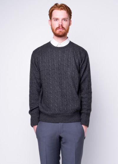Take me anywhere cable knit crew in charcoal