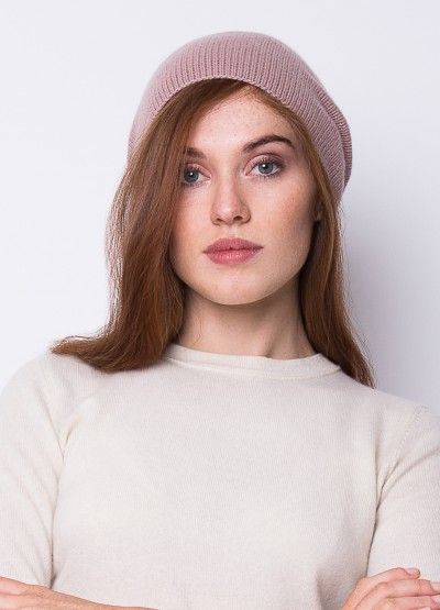 Cashmere slouchy beanie in dusty rose