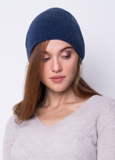 Cashmere slouchy beanie in denim blue