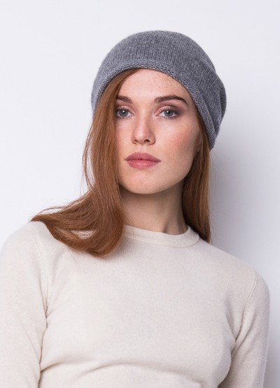Cashmere slouchy beanie in grey