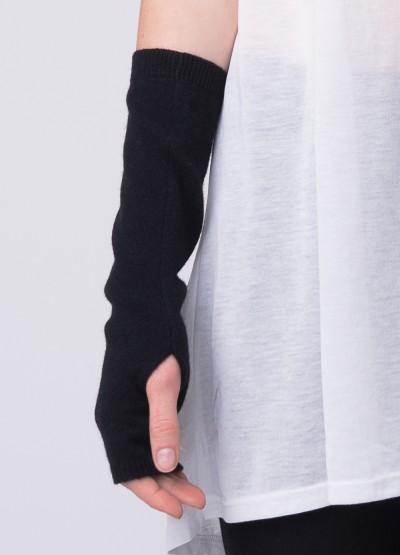 Cashmere fingerless long mittens