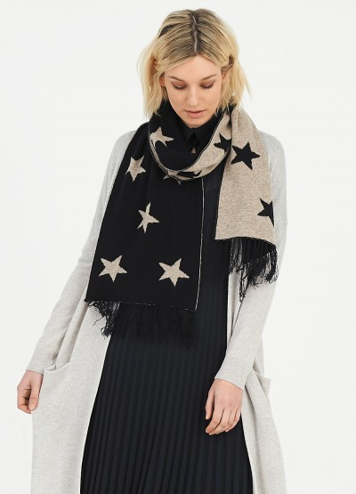 'Star' Double layer cashmere fringe scarf