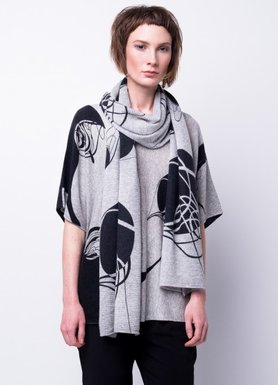'Flying thread' Ink print scarf