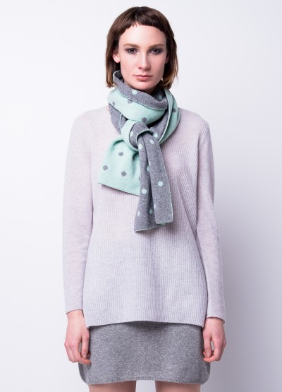 Minty polka dot double layer scarf