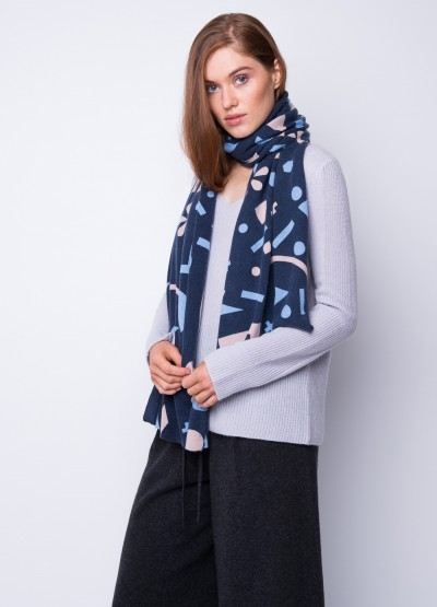 Geometrica Ink print cashmere scarf - multi colour