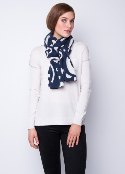 Geometrica Ink Print Cashmere scarf - Mono colour