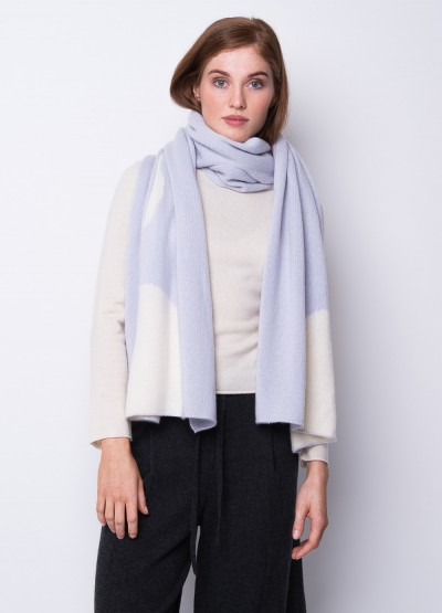Oversized chunky full moon scarf - pale blue