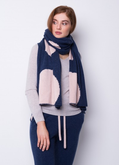 Oversized chunky full moon scarf - denim blue