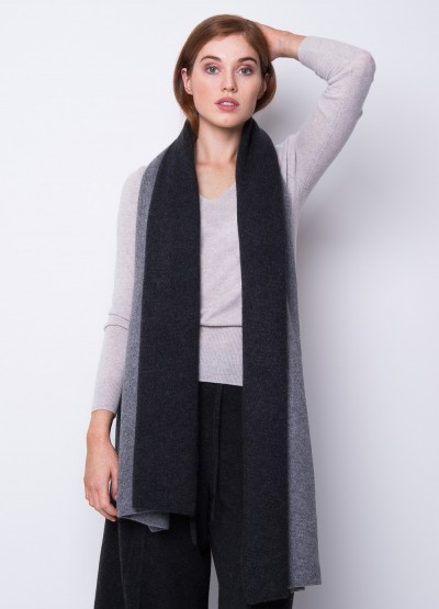 Oversized chunky colour block scarf - Charcoal