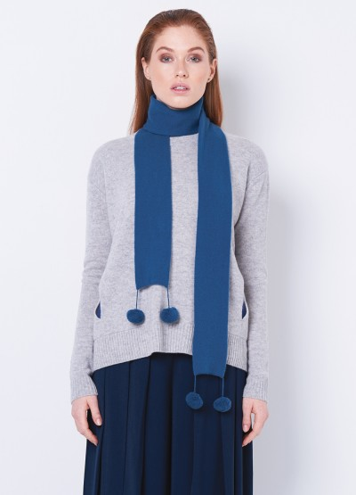 Love always double layer cashmere pom pom scarf - ceramic blue