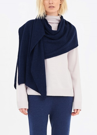 Cashmere scarf shawl in one - Navy