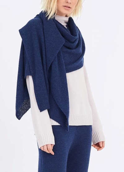 Cashmere scarf shawl in one - Denim blue