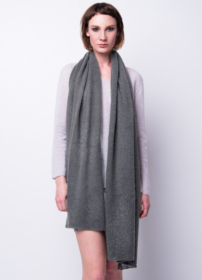 Cashmere scarf shawl in one - Mid grey