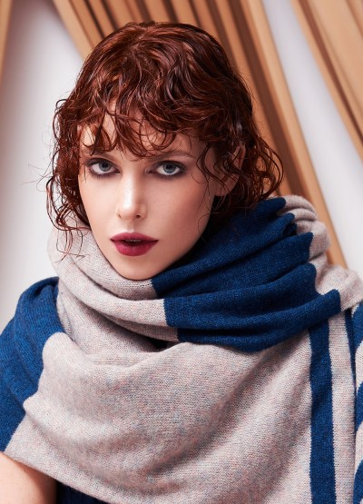 Oversized cashmere merino scarf - Striped