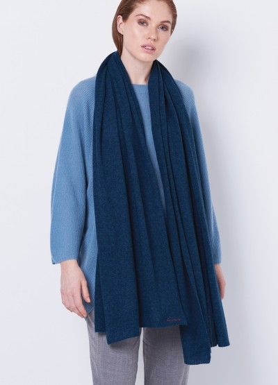 Oversized cashmere merino scarf - Mineral blue