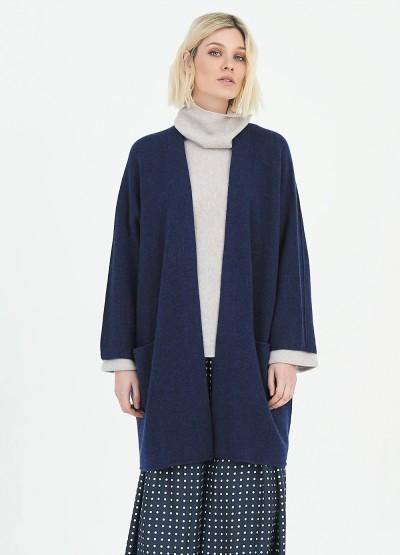 Open front crop sleeve icon coat - Denim blue