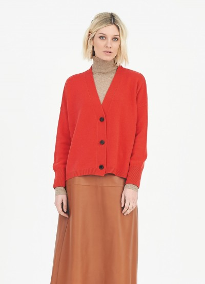 Timeless cropped cardigan - Poppy red