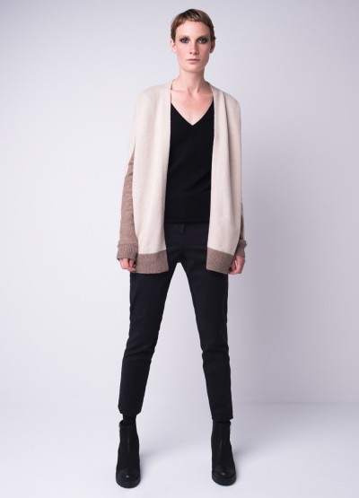 Colour block long cardi