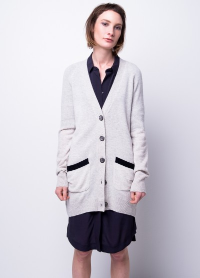 Elbow patch cashmere long cardi