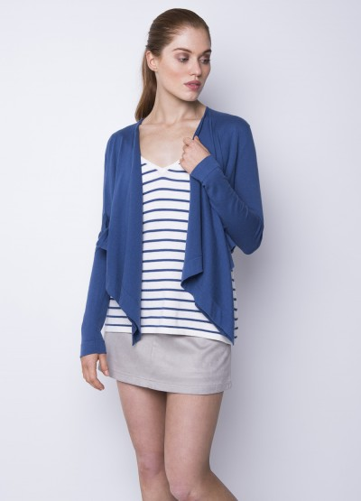 Draped open front cardigan - powder blue - 40% Off