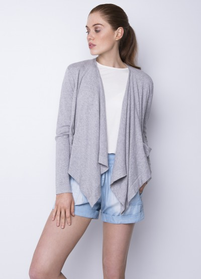 Draped open front cardigan - light grey - 40% Off