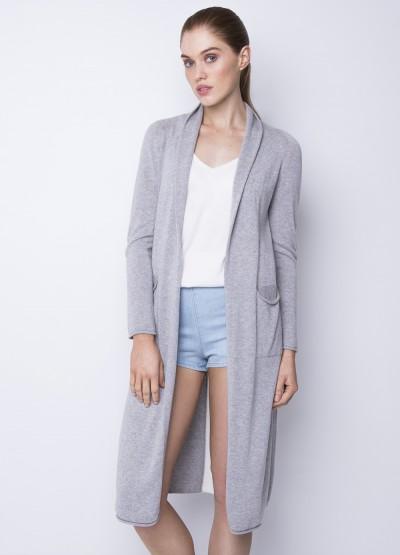 Split side long cardigan - white stripe - 25% Off