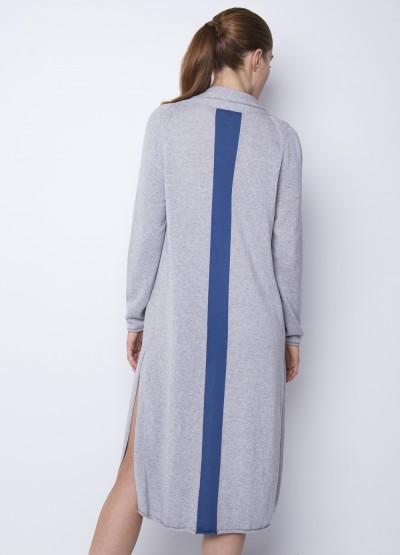 Split side long cardigan - powder blue stripe -25% Off