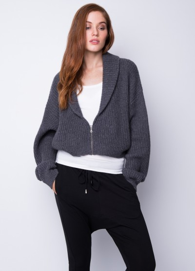 Chunky rib knit shawl collar jacket