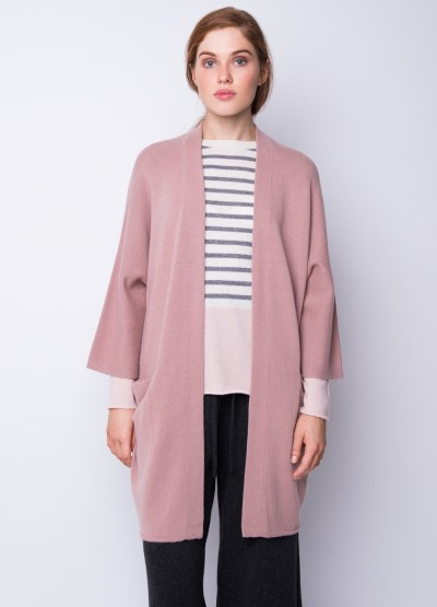 Open Front crop sleeve icon coat - dusty rose