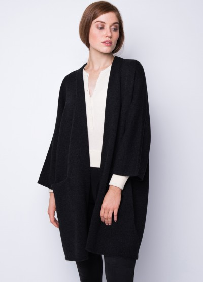 Open front crop sleeve icon coat - black