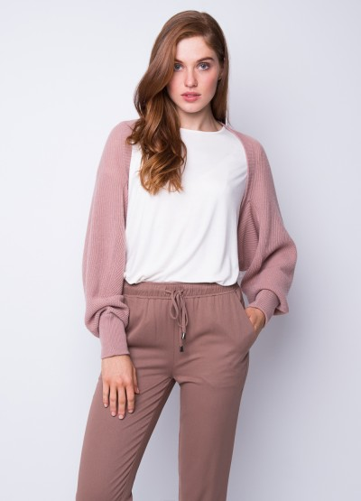 Rib knit all season shrug - Dusty rose