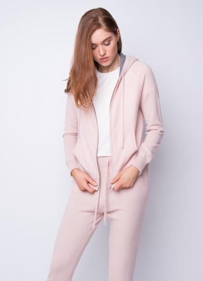 Dual tone pocketed hoodie cardi - blush