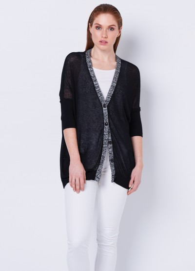 Loose fit summer cadigan in black - 30% Off