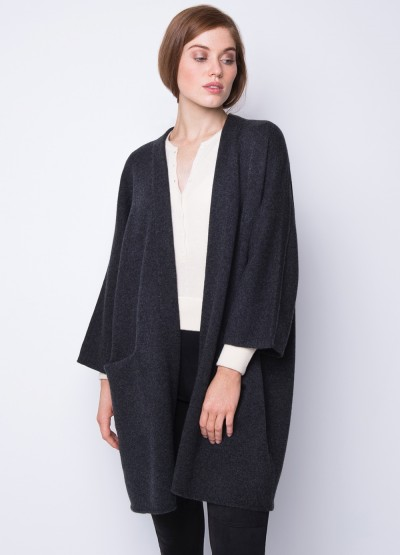 Open front crop sleeve icon coat - Charcoal