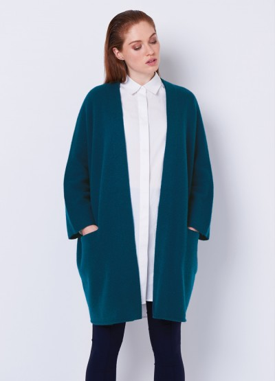 Open front crop sleeve icon coat - Dark teal