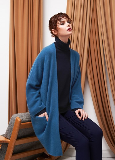 Open front crop sleeve icon coat - Ceramic blue