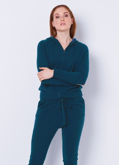 Cashmere dual tone pocketed hoodie cardi - Dark teal