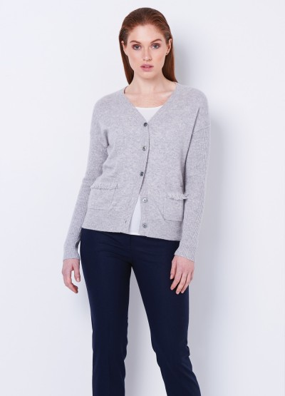 Frill pocket V neck Cardi - Grey