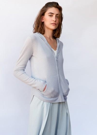 Waffle knit hoodie cardigan - Wedgewood blue - 10% Off