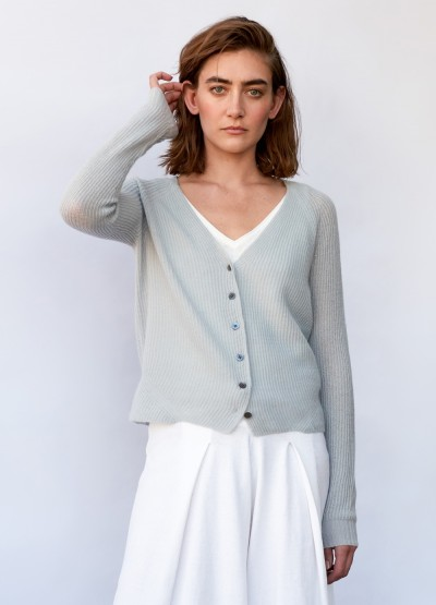 Rib knit cloud cardigan - Wedgewood blue