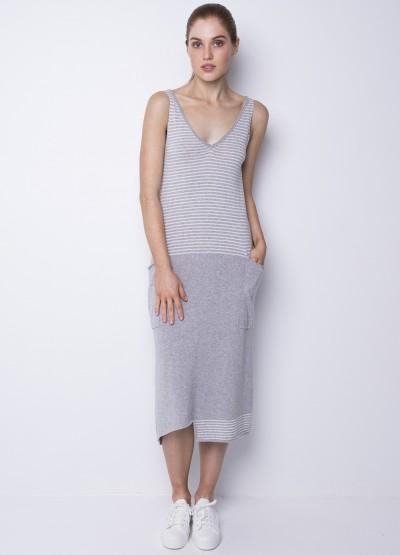 Big pocket long dress - White - 30% Off