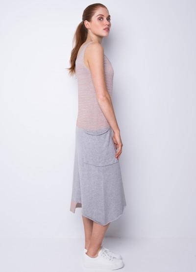 Big pocket long dress in terracotta
