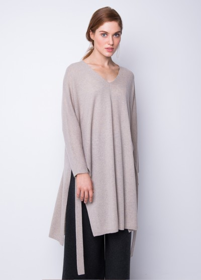 Split side freedom dress - soft grey melange