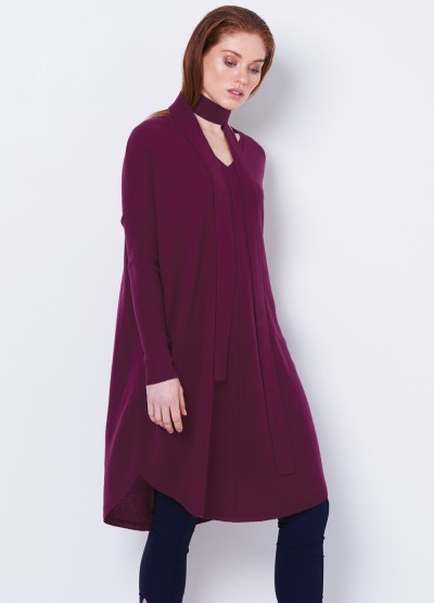 V Neck loose fit tunic dress - bordeaux
