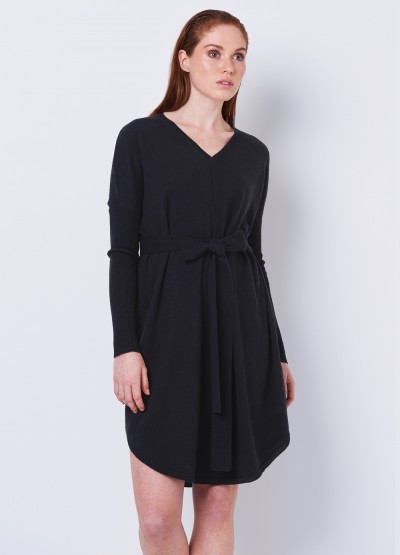 V Neck loose fit tunic dress - Black