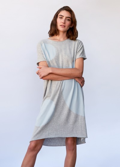Polka dot flowy dress - grey