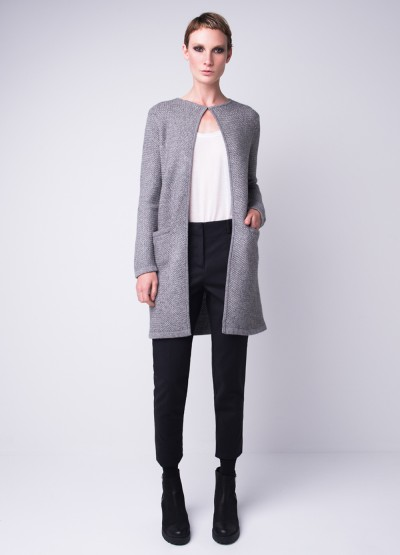 Cashmere blend weave pattern long coat