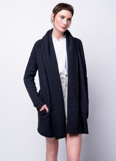 Leather trim open front overcoat